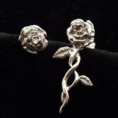 Unembellished roses pierce -silver 925-